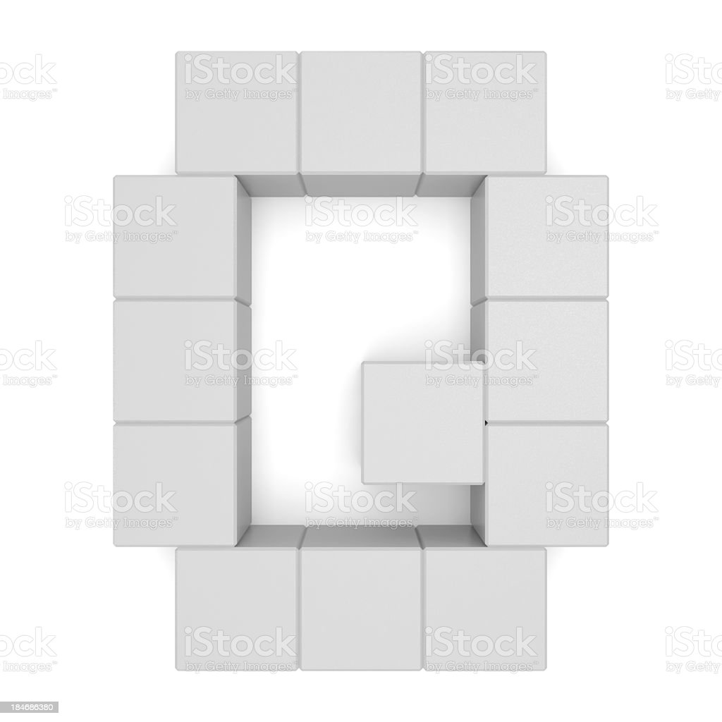 letter Q cubic white royalty-free stock photo