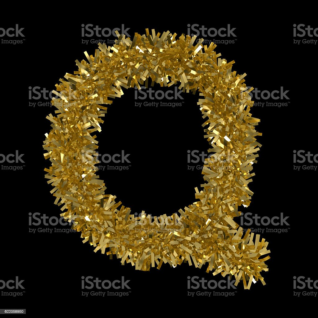 Letter Q made from Gold Christmas Tinsel Isolated on Black royalty-free  stock photo