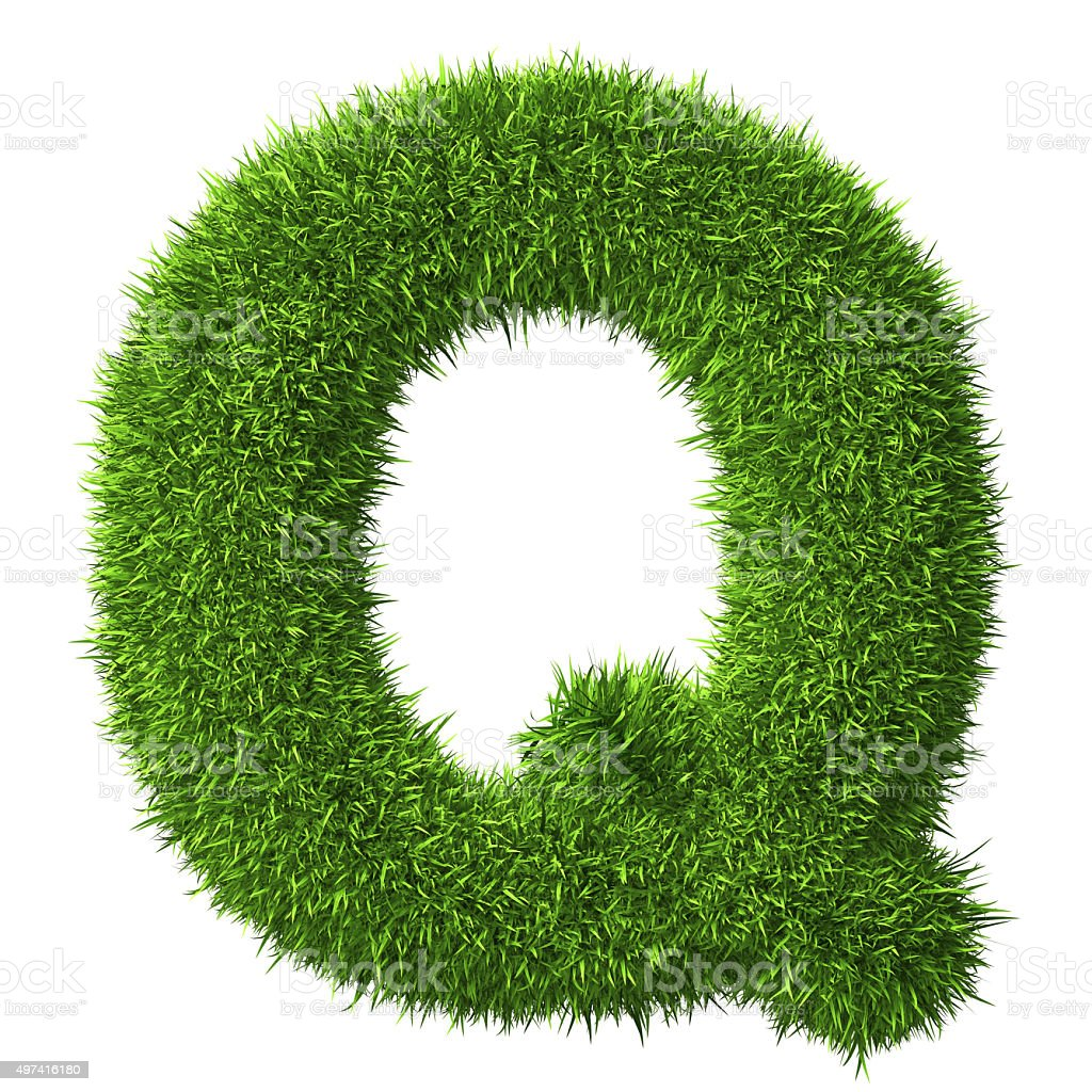 Letter Q of grass stock photo