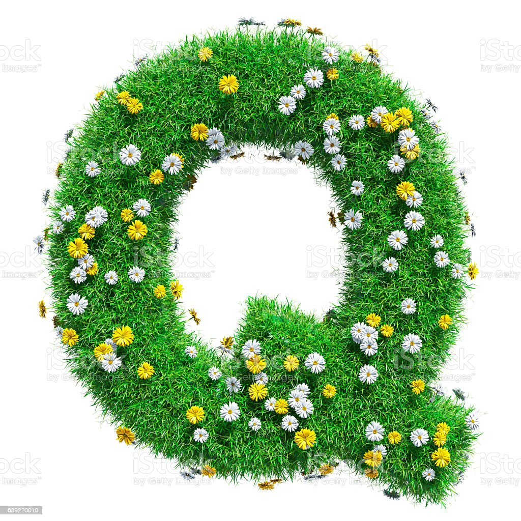 Letter Q Of Green Grass And Flowers stock photo