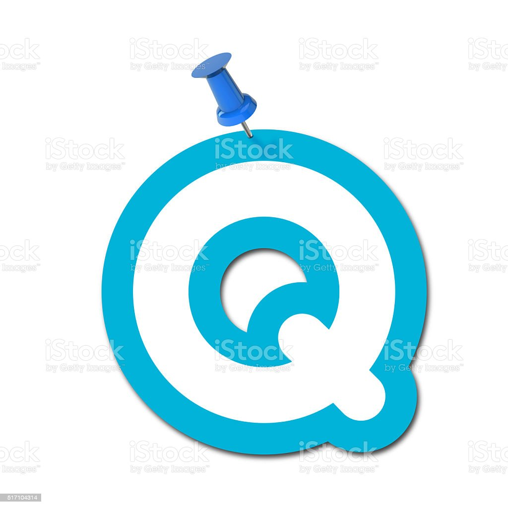 Letter Q pinned to a plain white background stock photo