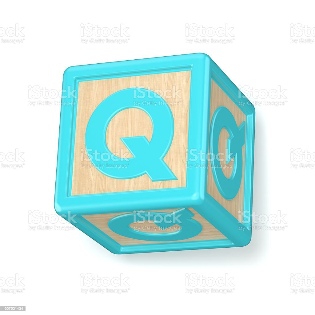 letter q wooden alphabet blocks font rotated 3d royalty free stock photo