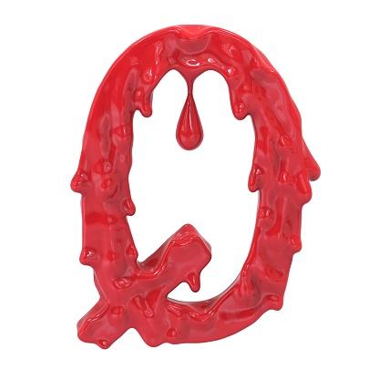 istock Letter Q.Bloody  english halloween alphabet.3D Rendering. 985635530