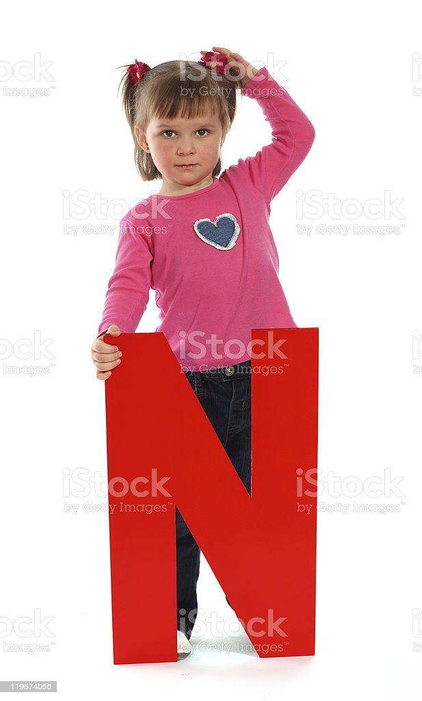 "Letter ""N"" girl royalty-free stock photo"