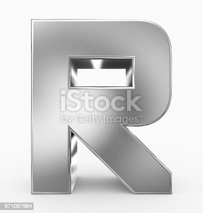 583978558istockphoto letter R 3d cubic rounded silver isolated on white 971067984