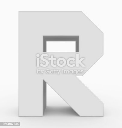 583978558istockphoto letter R 3d cubic white isolated on white 970867310