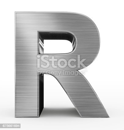 istock letter R 3d metal isolated on white 675661694