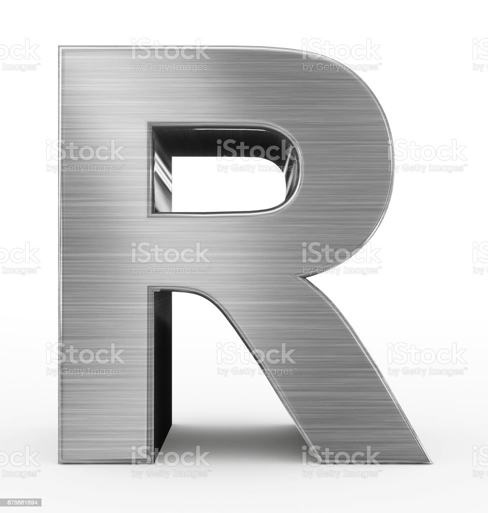 letter R 3d metal isolated on white stock photo