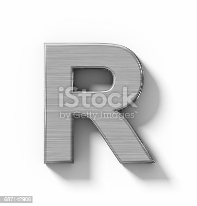 istock letter R 3D metal isolated on white with shadow - orthogonal projection 687142906