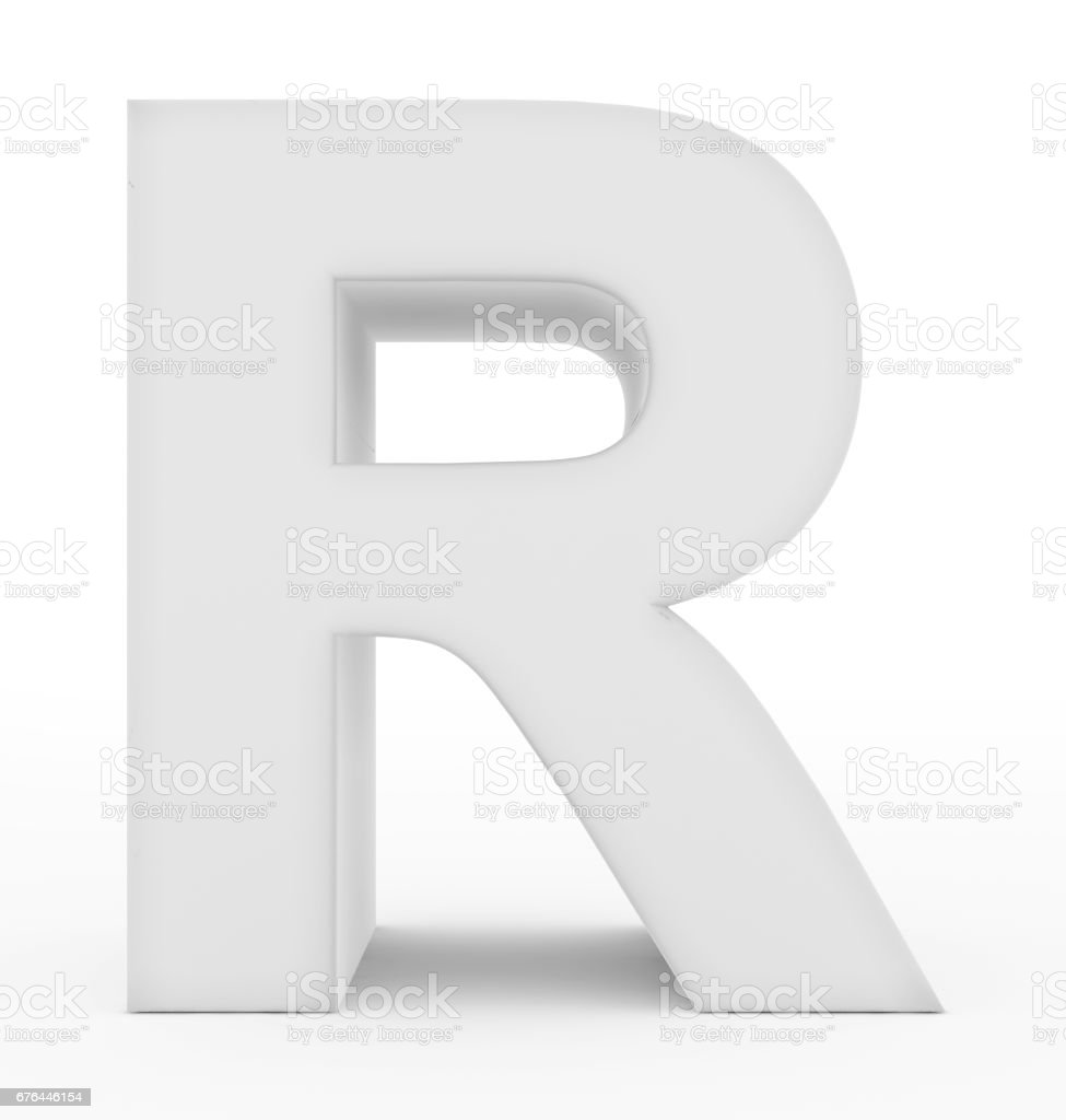 letter R 3d white isolated on white stock photo