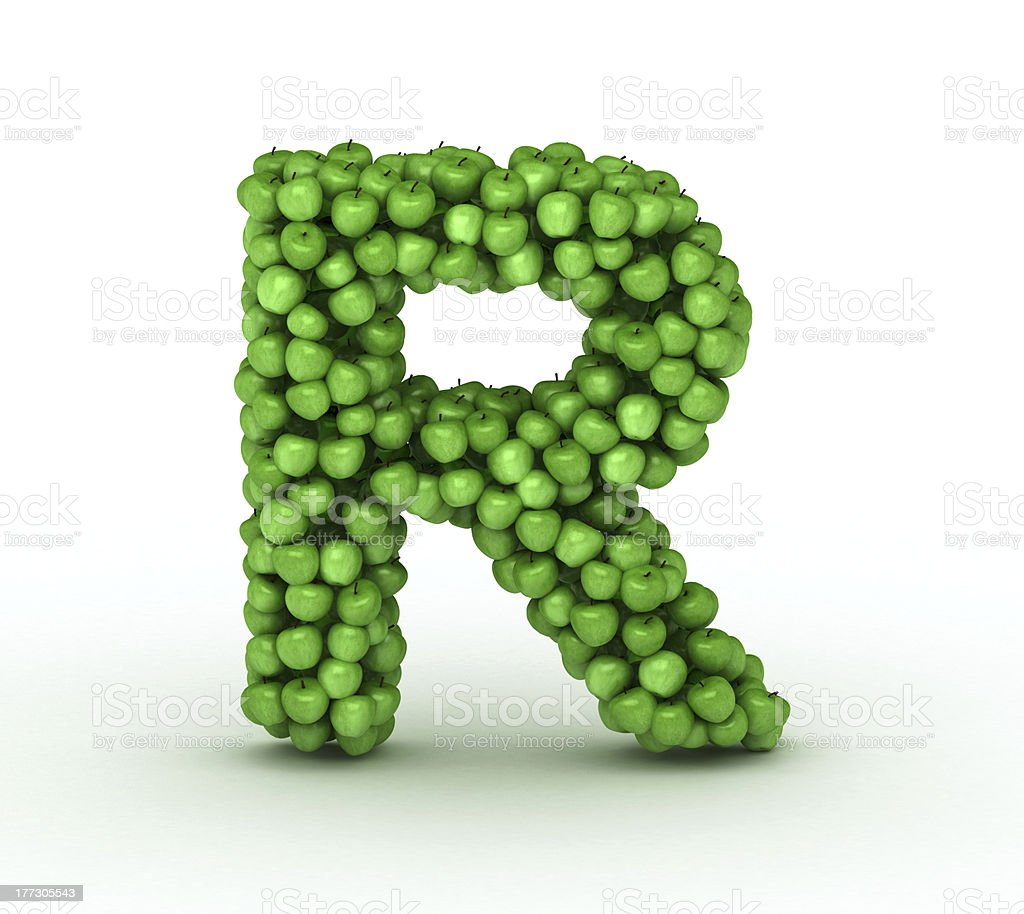 letter r alphabet of green apples stock photo more pictures of