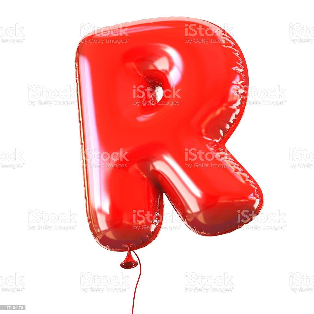 Letter R balloon font stock photo