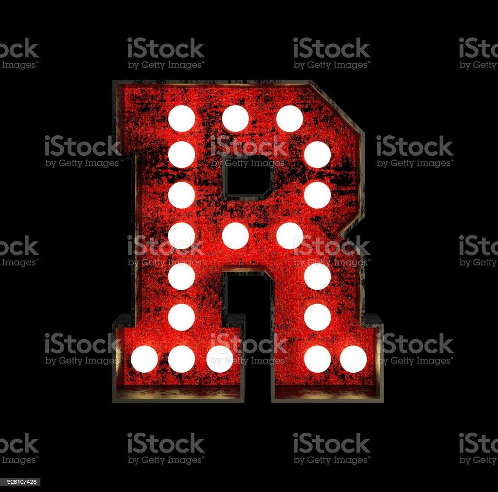 Letter R. Broadway Style Light Bulb Font stock photo