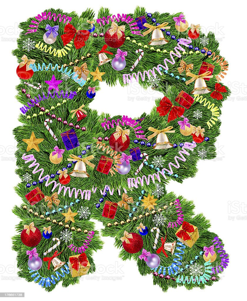 Letter R. Christmas tree decoration royalty-free stock photo