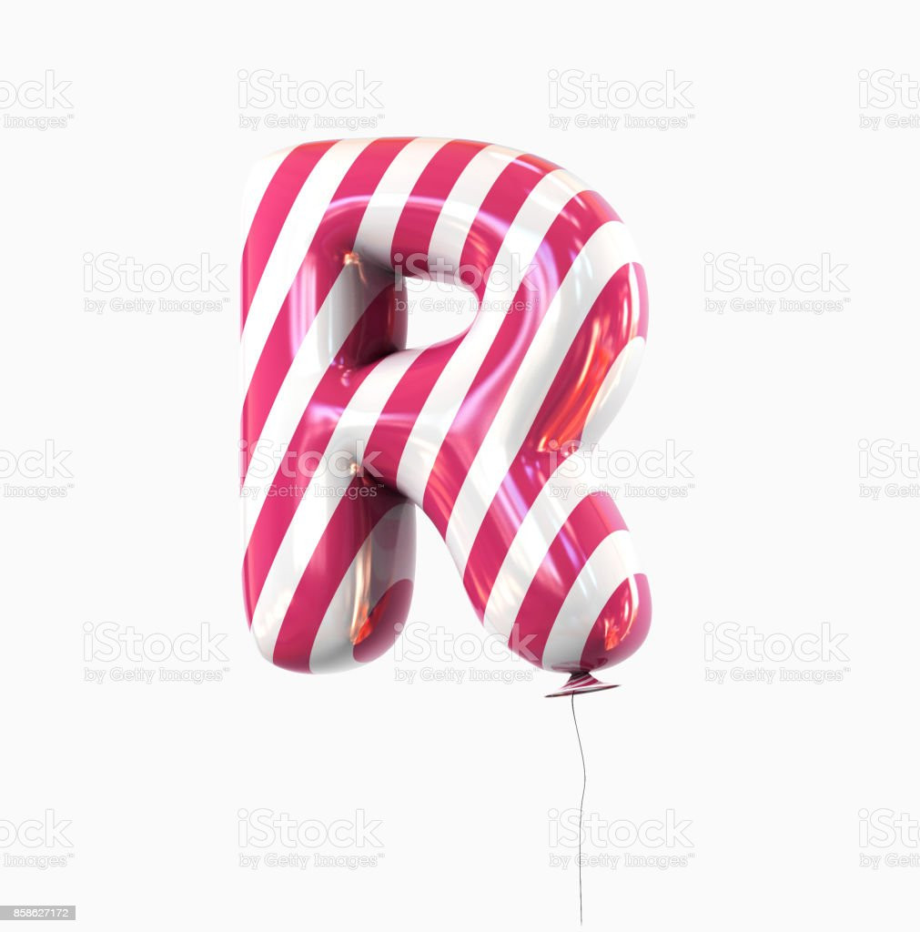 Letter R. Colorful Balloon font isolated on White Background. stock photo