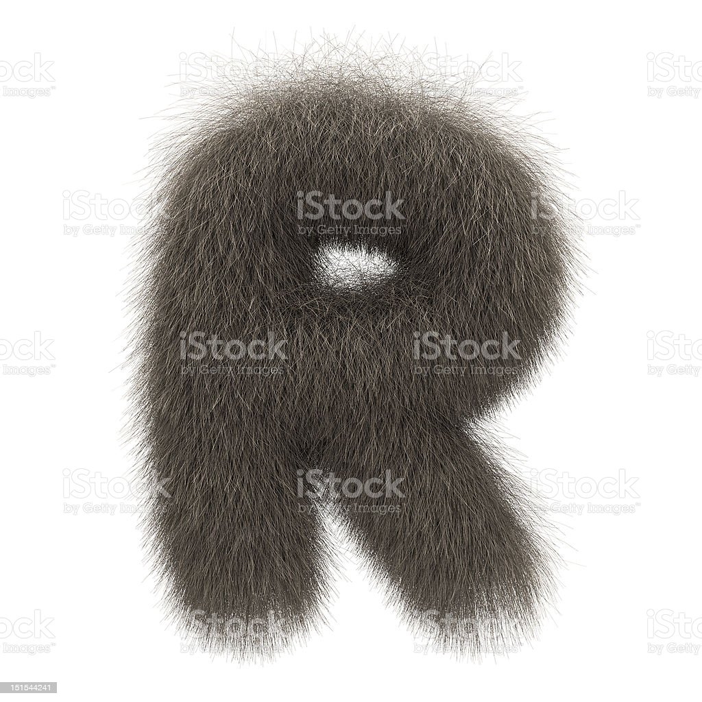 Letter R from fur alphabet stock photo