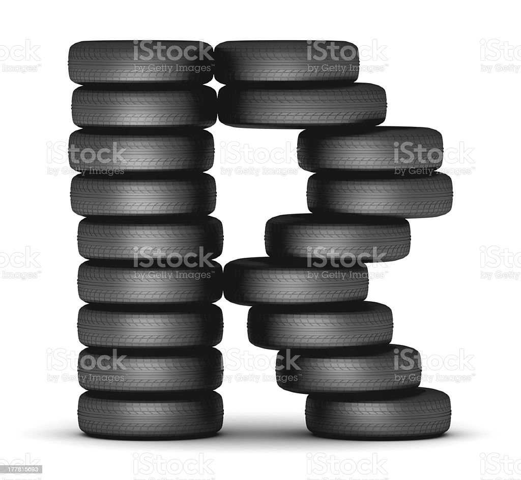 Letter R from stacked tire royalty-free stock photo
