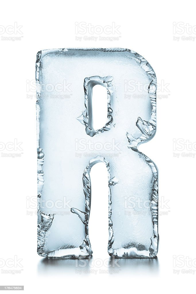 Letter R frozen ice block alphabet stock photo