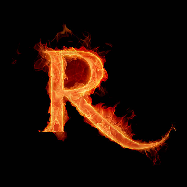 Letter R in a fiery styled font stock photo