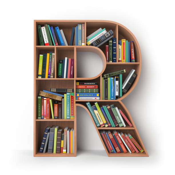 Letter R in the form of shelves with books isolated on white. stock photo