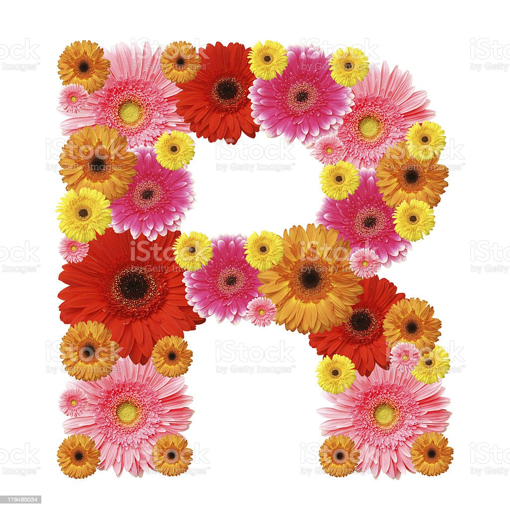 Letter R made of colorful flowers stock photo