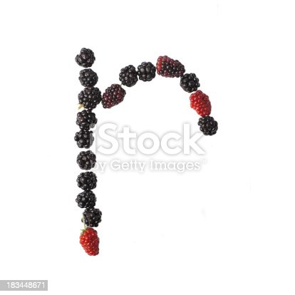 683035640 istock photo Letter R made up of blackberries 183448671
