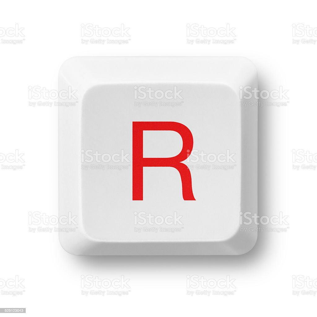 Letter R On A Computer Key Isolated On White Stock Photo - Download