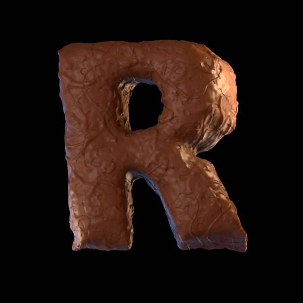 letter r - schokolade typografie stock-fotos und bilder