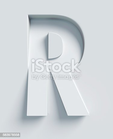 istock Letter R slanted 3d font engraved and extruded from surface 583978558