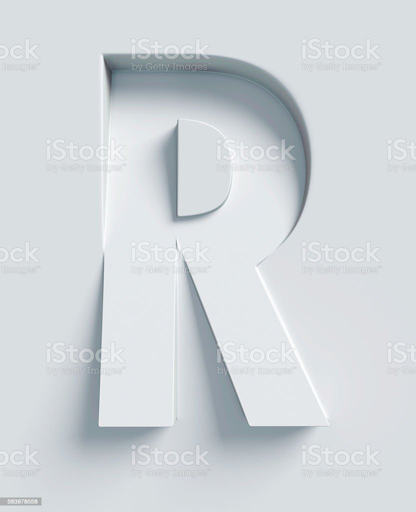 Letter R slanted 3d font engraved and extruded from surface - foto de acervo
