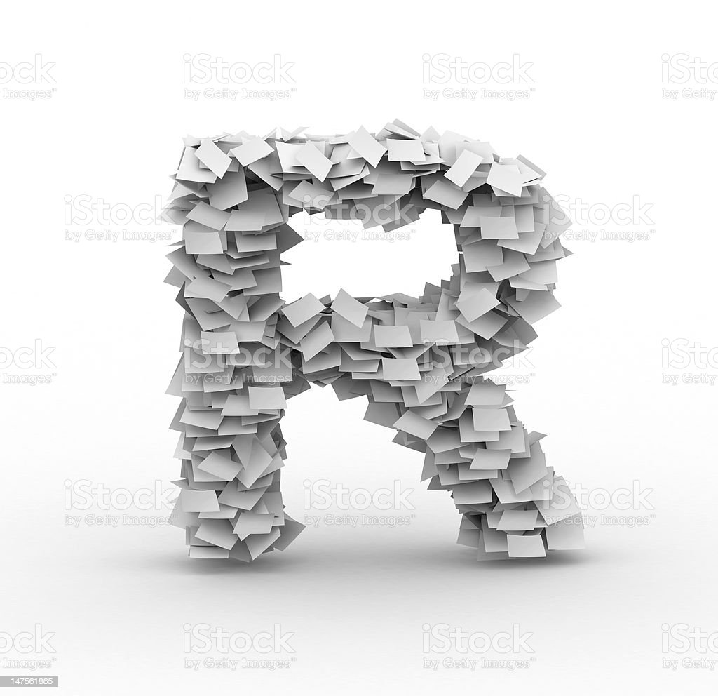 Letter R, stacked from paper sheets royalty-free stock photo