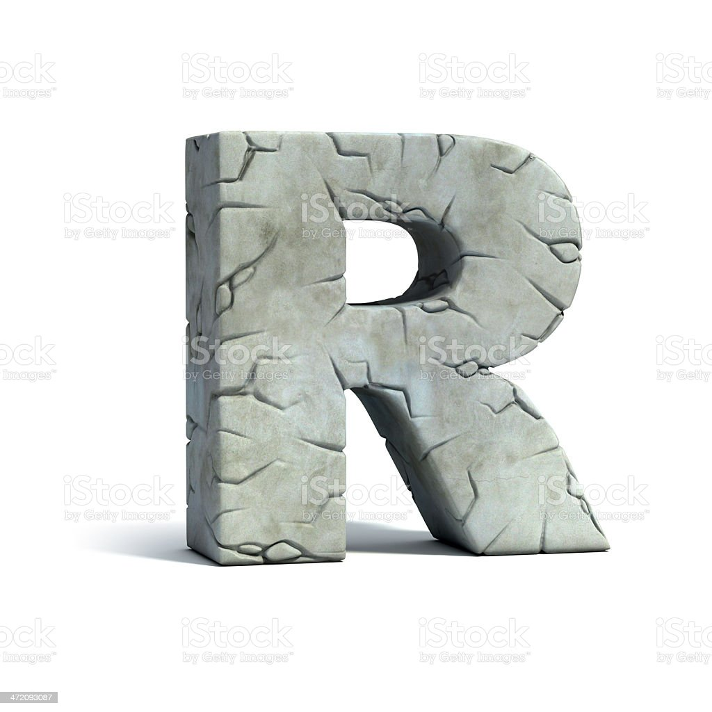 letter R stone 3d font stock photo