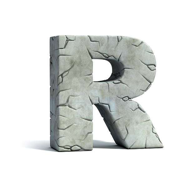 letter r stone 3d font - stone font stock photos and pictures