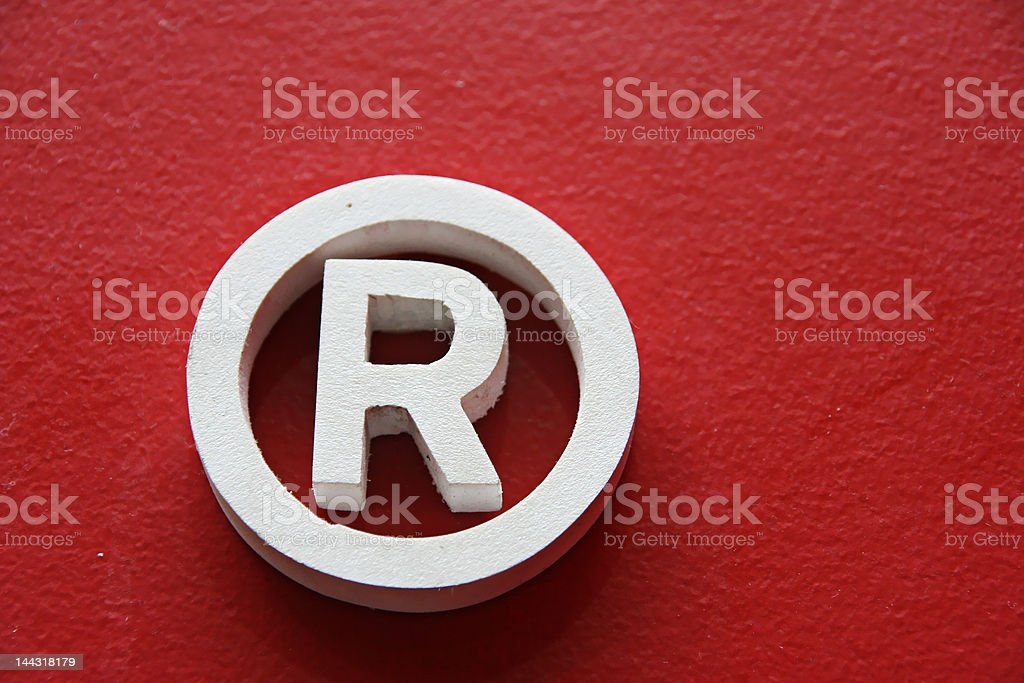 Letter R trademark symbol stock photo