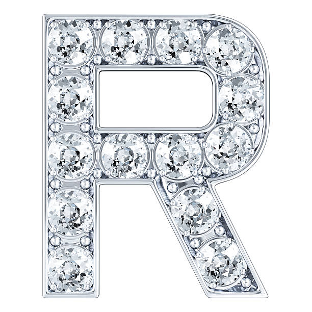 Letter R With Diamonds stock photo