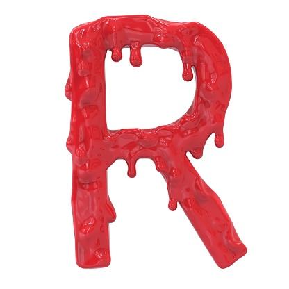 istock Letter R.Bloody  english halloween alphabet.3D Rendering. 985635256