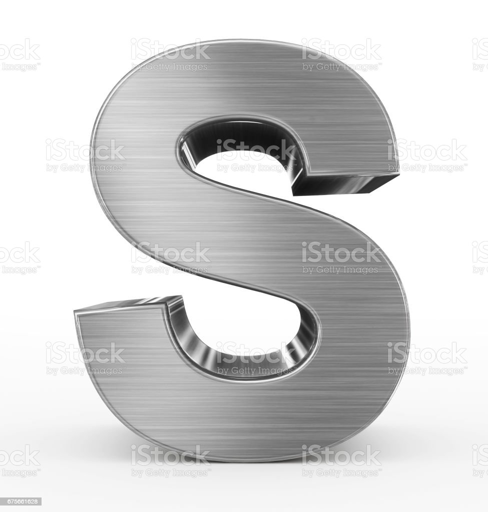letter S 3d metal isolated on white stock photo