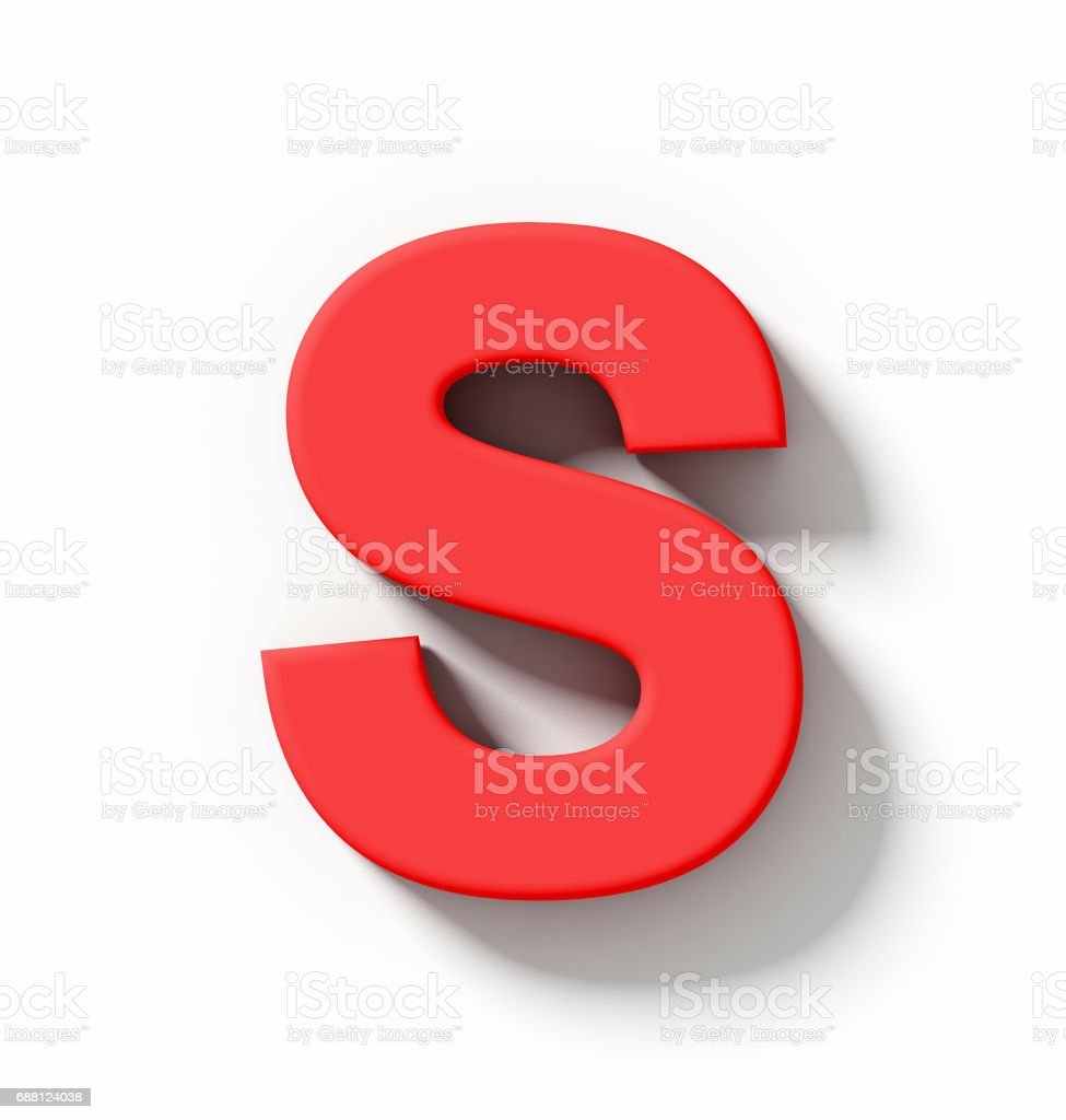 letter S 3D red isolated on white with shadow - orthogonal projection stock photo