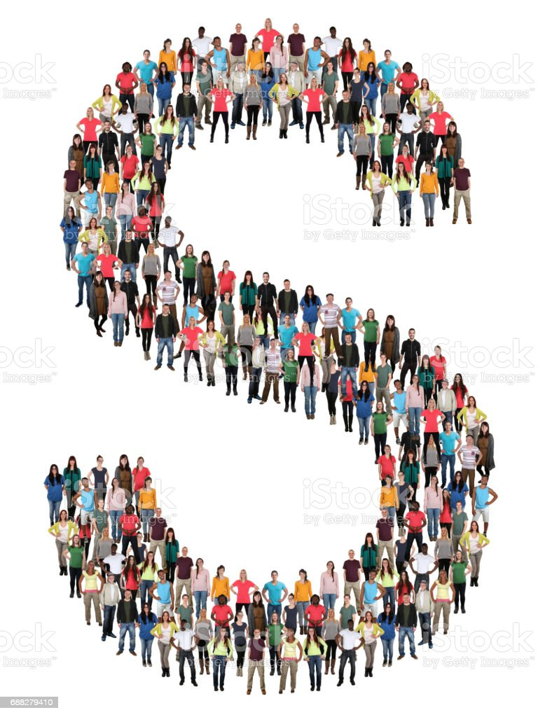 Letter S alphabet group of people stock photo
