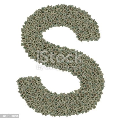 letter S made of made of huge amount of old and dirty microprocessors, isolated on white background