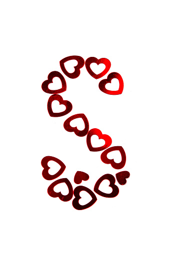 Letter S made of red hearts isolated on white background