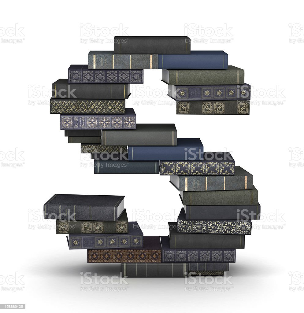Letter S, stack of books royalty-free stock photo