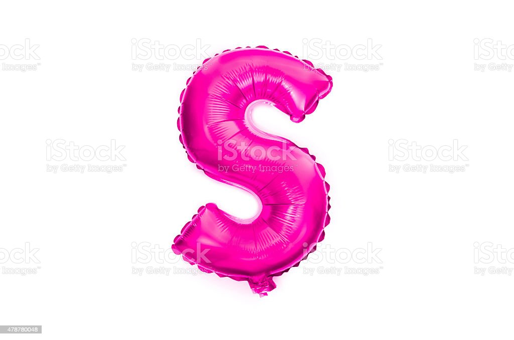 Letter S written with a pink helium balloon stock photo