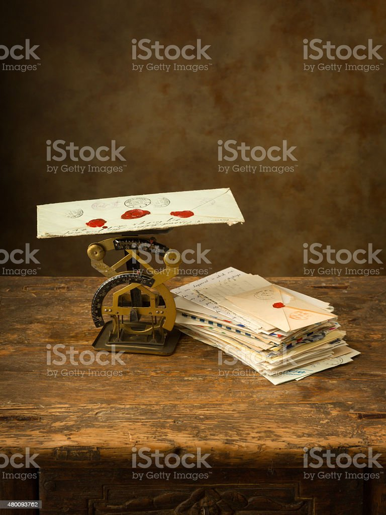 Letter scale of past times stock photo
