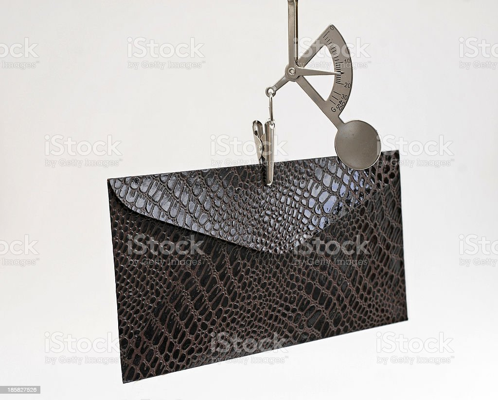 Letter scale with envelope stock photo
