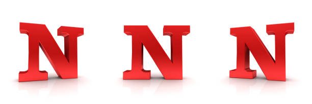 N letter sign red 3d alphabet text capital letter stock photo
