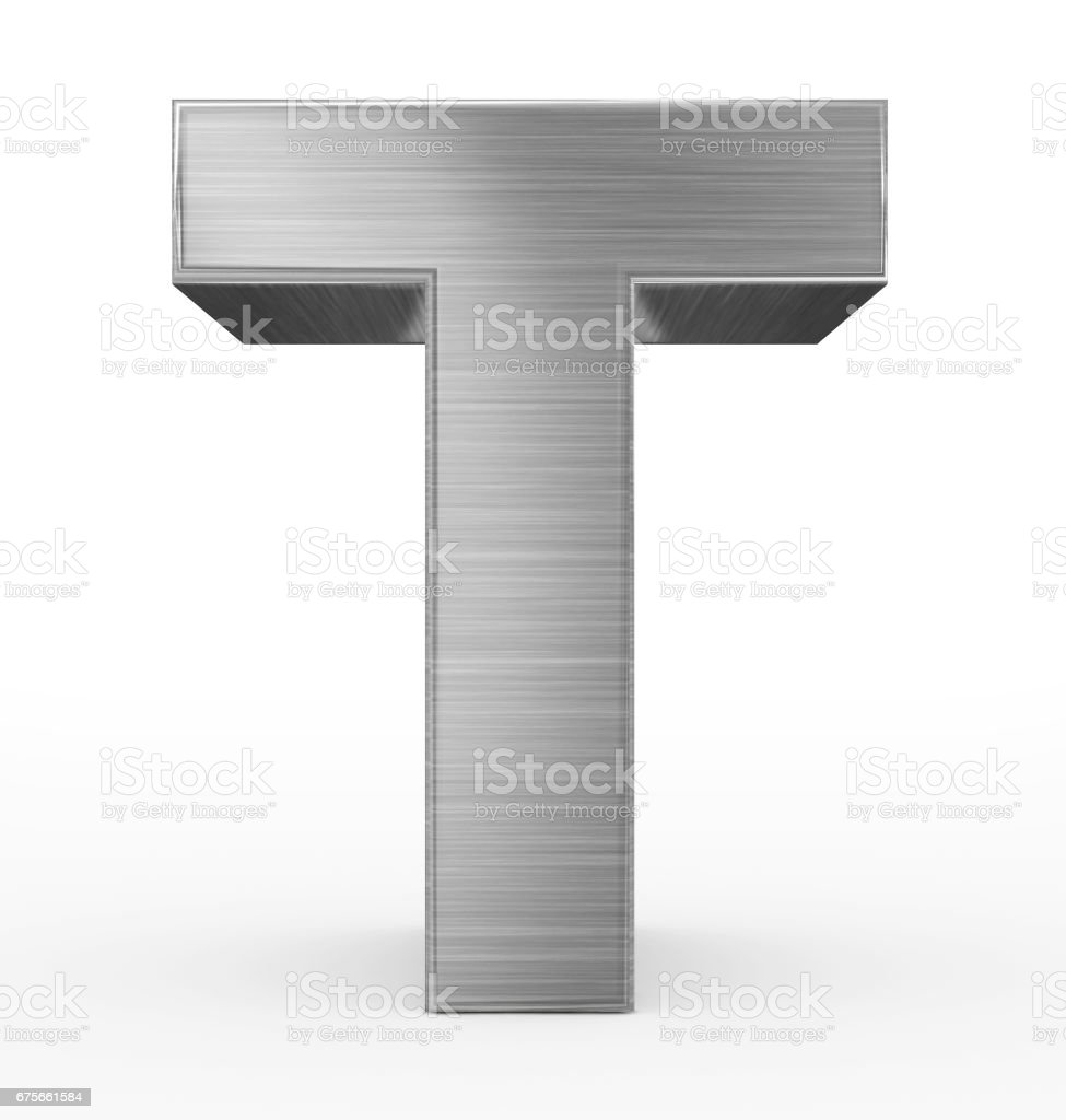 letter T 3d metal isolated on white stock photo