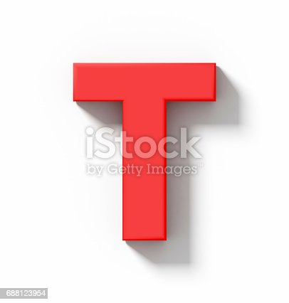 istock letter T 3D red isolated on white with shadow - orthogonal projection 688123954