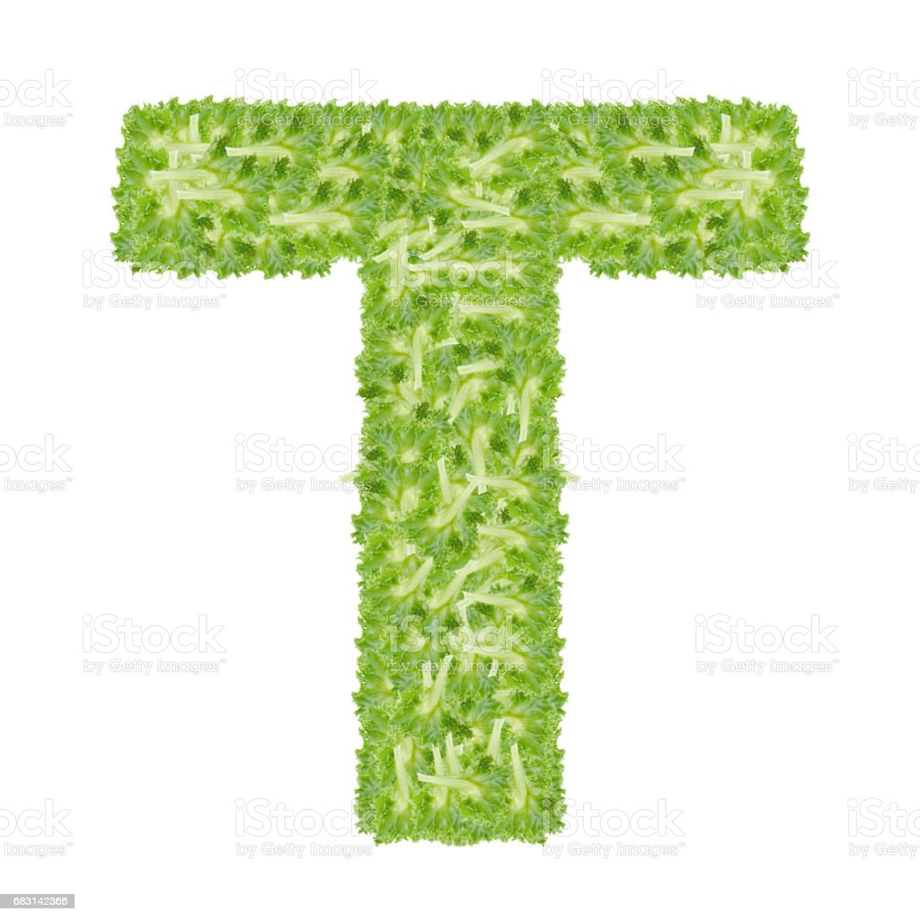 Letter T alphabet with hydroponics leaf  ABC concept type as logo isolated on white background royalty-free 스톡 사진