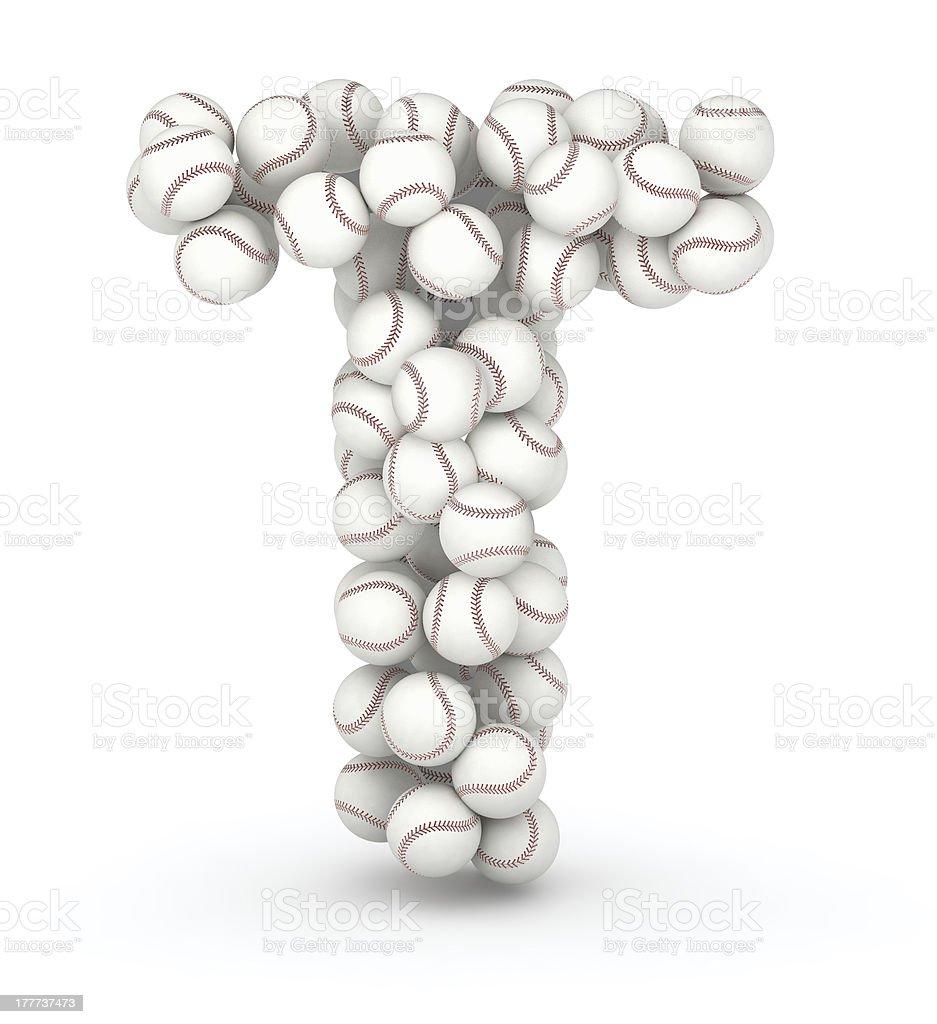 Letter T, baseball balls font stock photo
